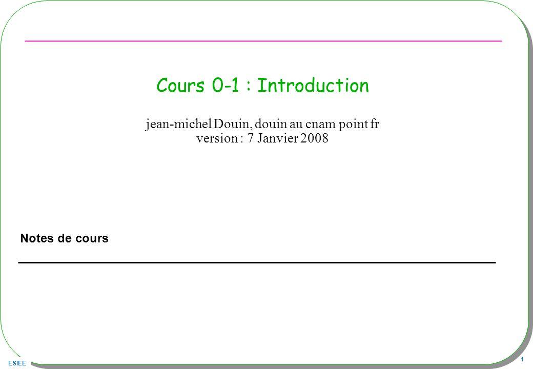 ESIEE 2 Sommaire Les objectifs des concepteurs Présentation des concepts de l orienté Objet Conception par les patrons (pattern) Outils et développement –BlueJ –JNEWS