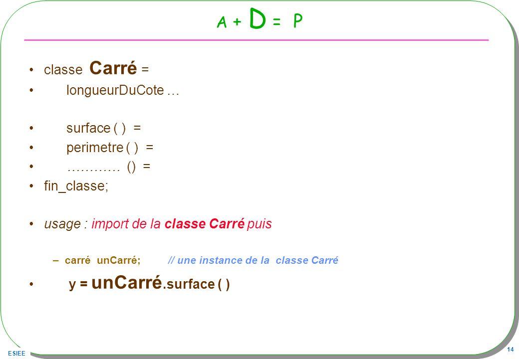 ESIEE 14 A + D = P classe Carré = longueurDuCote … surface ( ) = perimetre ( ) = ………… () = fin_classe; usage : import de la classe Carré puis –carré u