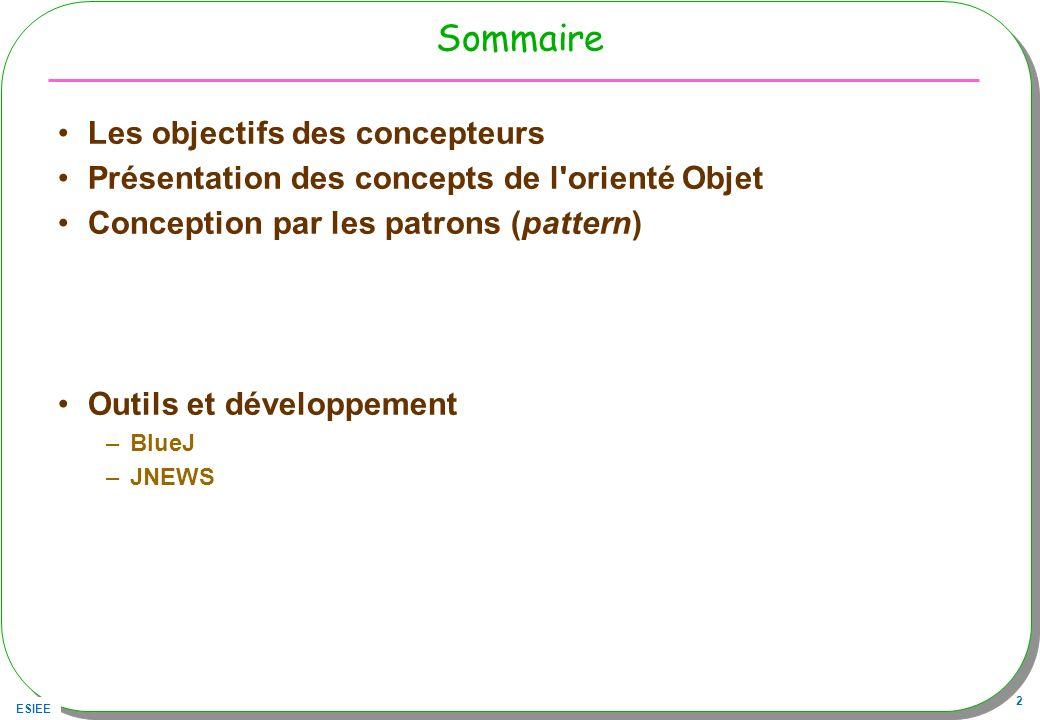 ESIEE 3 Bibliographie utilisée [Grand00] –Patterns in Java le volume 1 http://www.mindspring.com/~mgrand/ [head First] –Head first : http://www.oreilly.com/catalog/hfdesignpat/#top http://www.oreilly.com/catalog/hfdesignpat/#top [DP05] –Lextension « Design Pattern » de BlueJ : http://hamilton.bell.ac.uk/designpatterns/ http://hamilton.bell.ac.uk/designpatterns/ –Ou bien en http://www.patterncoder.org/http://www.patterncoder.org/ [Liskov] –Program Development in Java, Abstraction, Specification, and Object-Oriented Design, B.Liskov avec J.