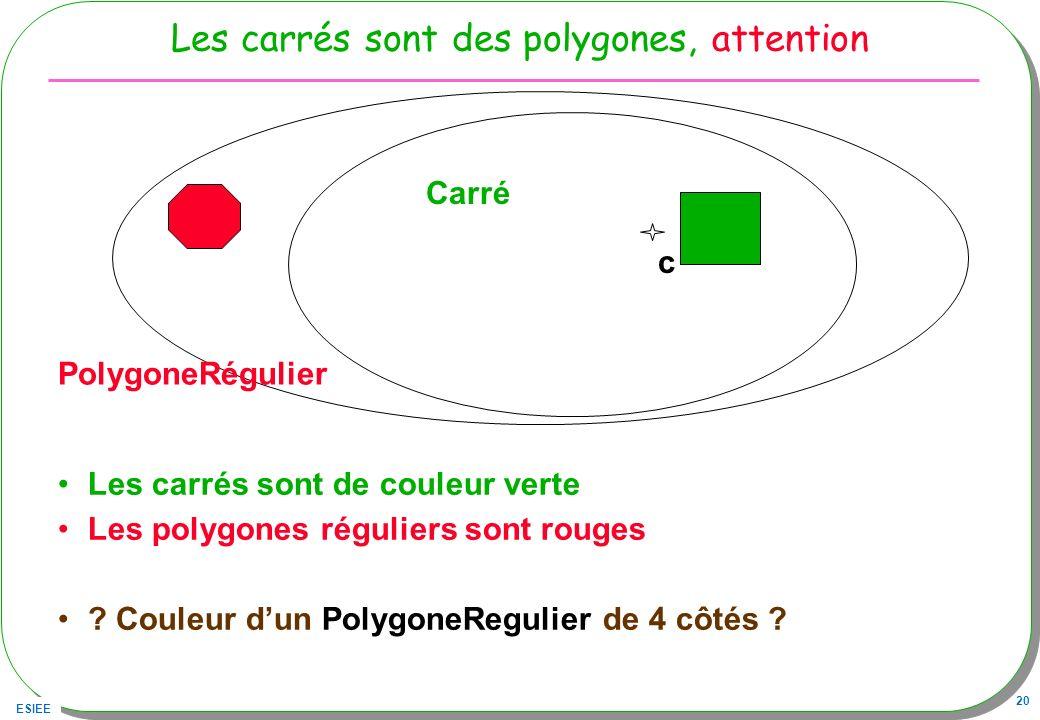 ESIEE 20 Les carrés sont des polygones, attention Les carrés sont de couleur verte Les polygones réguliers sont rouges ? Couleur dun PolygoneRegulier