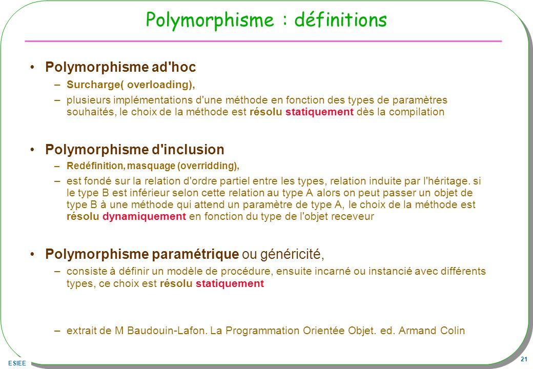 ESIEE 21 Polymorphisme : définitions Polymorphisme ad'hoc –Surcharge( overloading), –plusieurs implémentations d'une méthode en fonction des types de