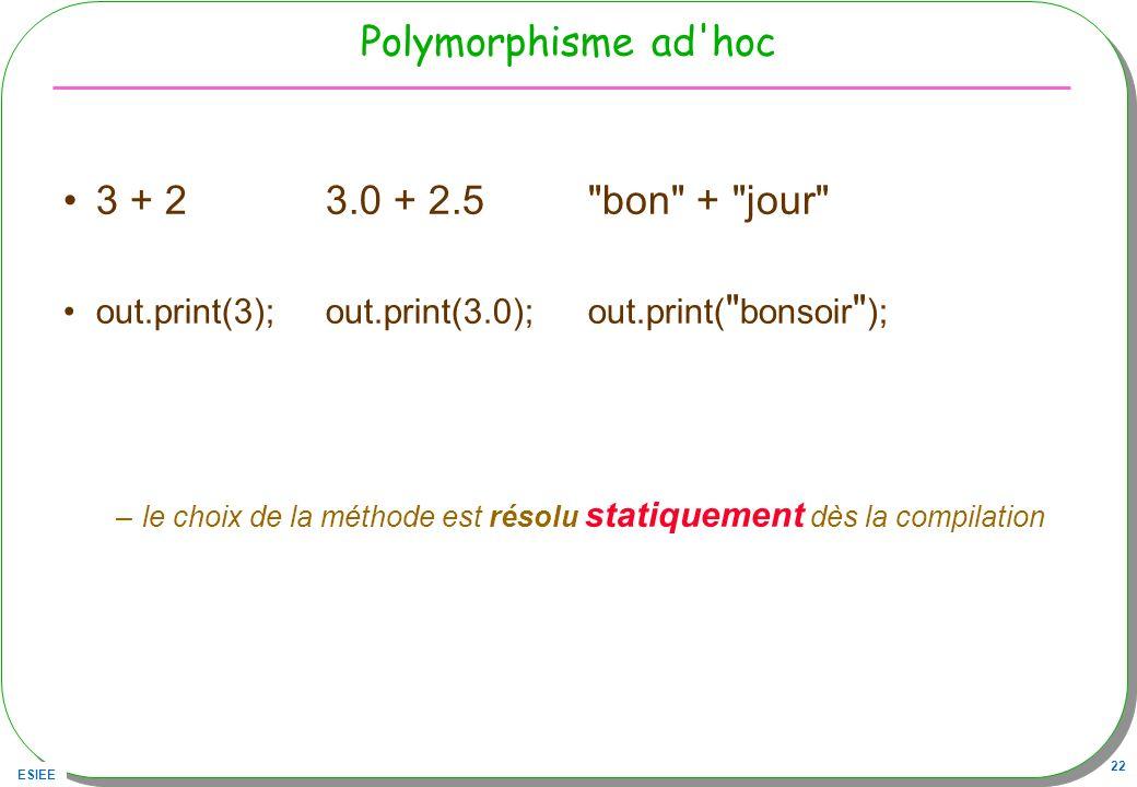 ESIEE 22 Polymorphisme ad'hoc 3 + 23.0 + 2.5
