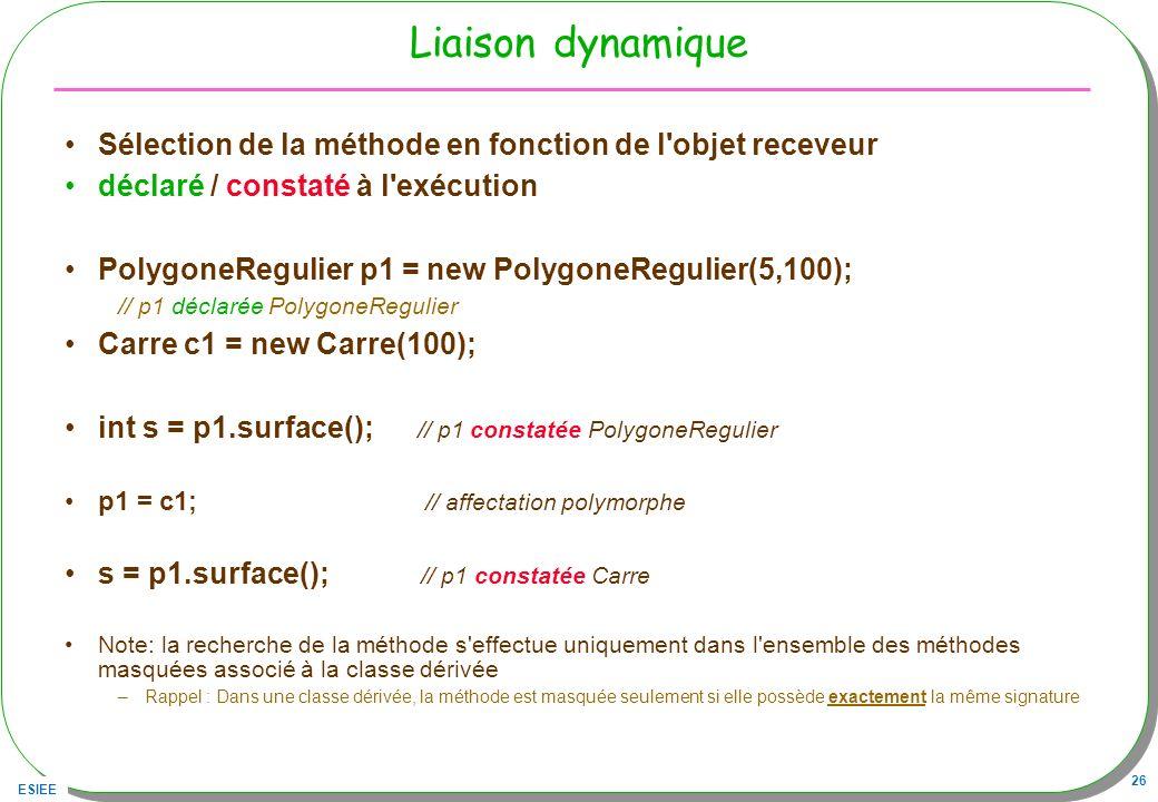 ESIEE 26 Liaison dynamique Sélection de la méthode en fonction de l'objet receveur déclaré / constaté à l'exécution PolygoneRegulier p1 = new Polygone