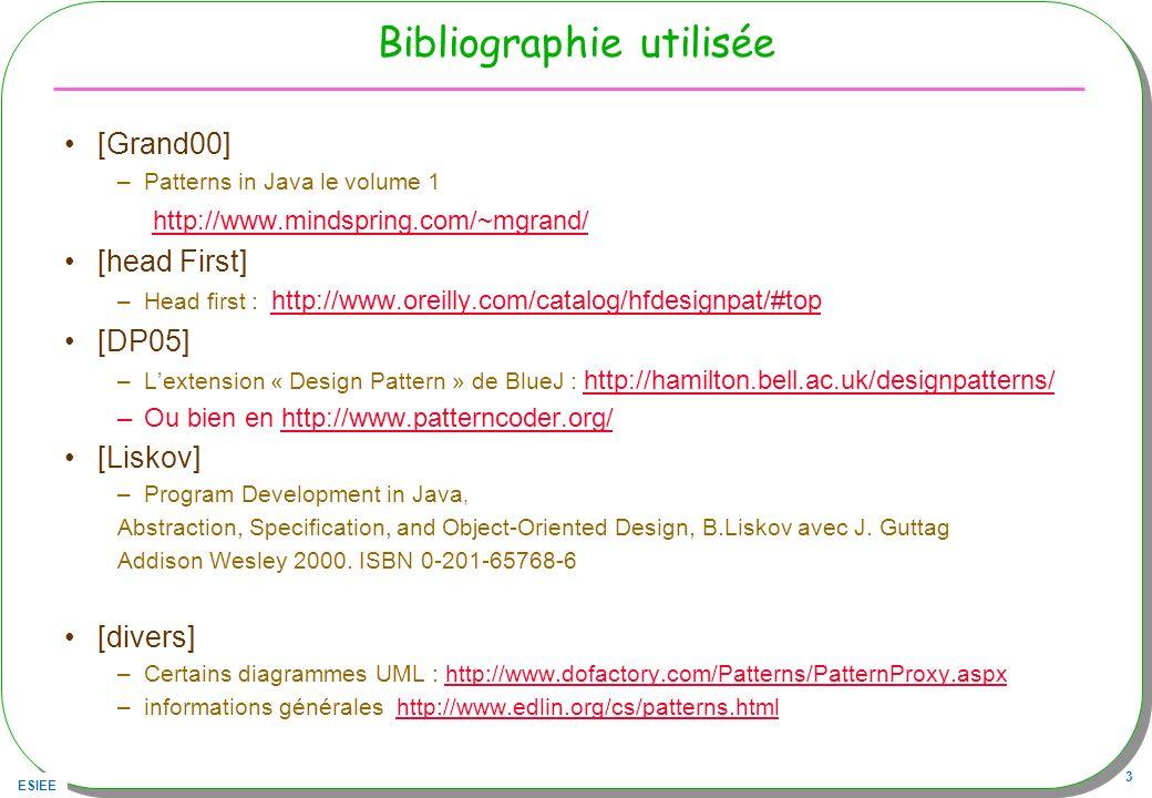 ESIEE 24 Polymorphisme paramétrique Une liste homogène public class Liste { void add(T t) … void remove(T t) … … } –Liste li = new Liste (); –li.add(new Integer(4)); –Liste la = new Liste (); –la.add(new A()); –la.add(new B()); –incarné ou instancié avec différents types, ce choix est résolu statiquement Classe A Classe B