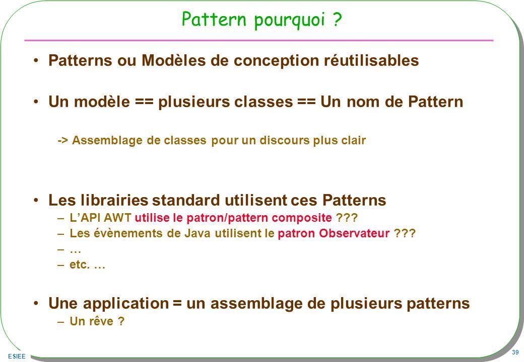 ESIEE 39 Pattern pourquoi ? Patterns ou Modèles de conception réutilisables Un modèle == plusieurs classes == Un nom de Pattern -> Assemblage de class