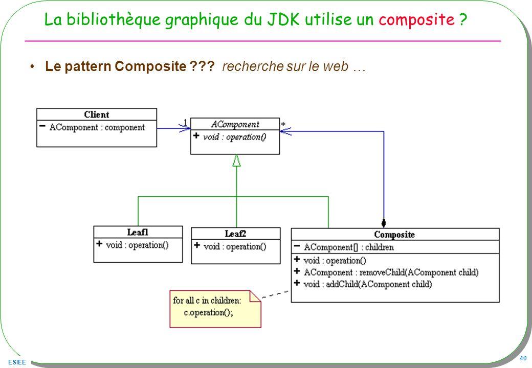 ESIEE 40 La bibliothèque graphique du JDK utilise un composite ? Le pattern Composite ??? recherche sur le web …