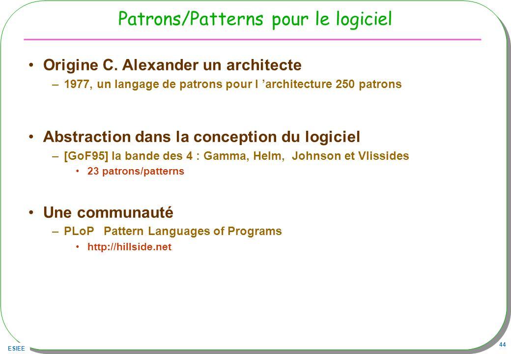 ESIEE 44 Patrons/Patterns pour le logiciel Origine C. Alexander un architecte –1977, un langage de patrons pour l architecture 250 patrons Abstraction