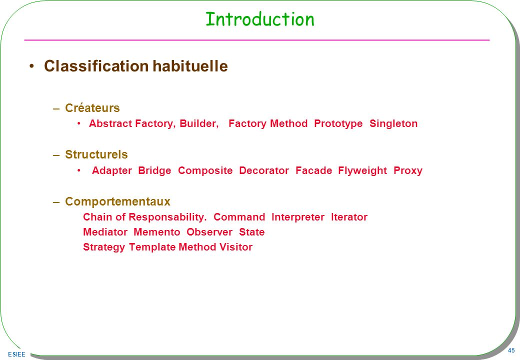 ESIEE 45 Introduction Classification habituelle –Créateurs Abstract Factory, Builder, Factory Method Prototype Singleton –Structurels Adapter Bridge C
