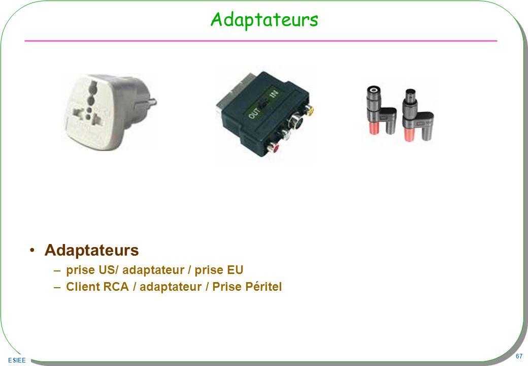 ESIEE 67 Adaptateurs –prise US/ adaptateur / prise EU –Client RCA / adaptateur / Prise Péritel