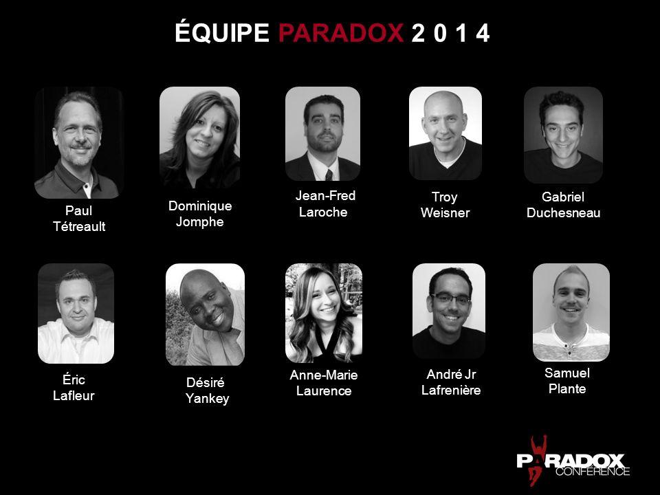 Paul Tétreault Dominique Jomphe Je suis temporairement responsable de la supervision et de la direction de léquipe et de lévénement Paradox 2014.