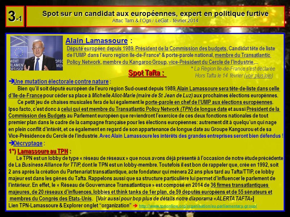 Spot sur un candidat aux européennes, expert en politique furtive Attac Tarn & lOgri / LeGat - février 2014 3 -1 Spot Tafta : Une mutation électorale