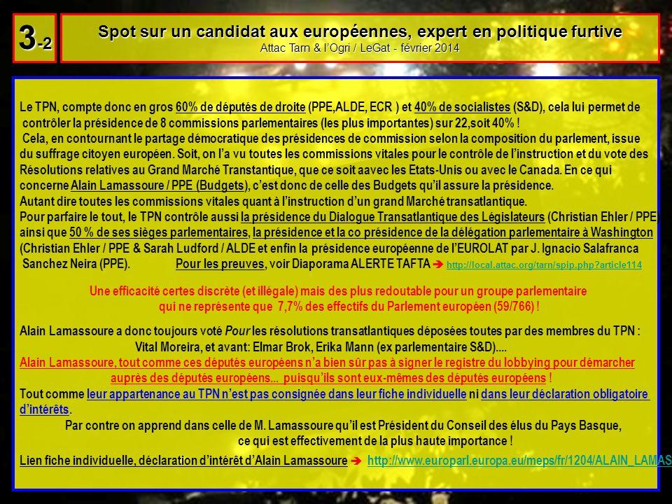 Le TPN, compte donc en gros 60% de députés de droite (PPE,ALDE, ECR ) et 40% de socialistes (S&D), cela lui permet de contrôler la présidence de 8 commissions parlementaires (les plus importantes) sur 22,soit 40% .