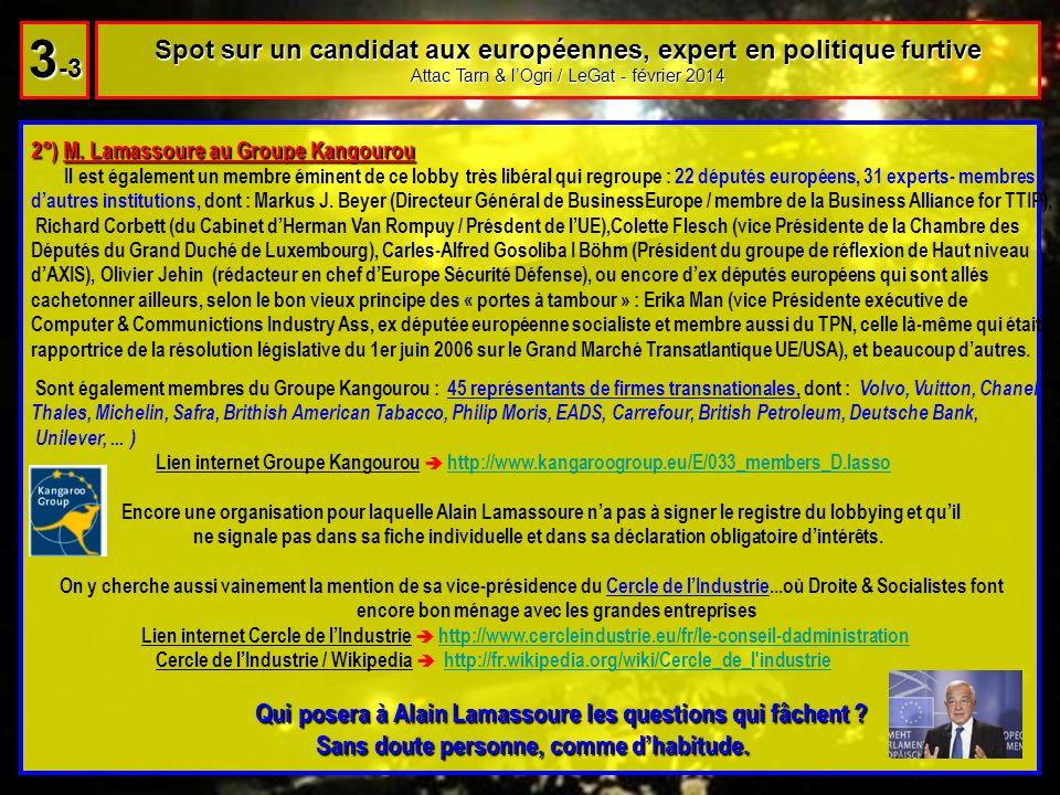 2°) M. Lamassoure au Groupe Kangourou Il est également un membre éminent de ce lobby très libéral qui regroupe : 22 députés européens, 31 experts- mem