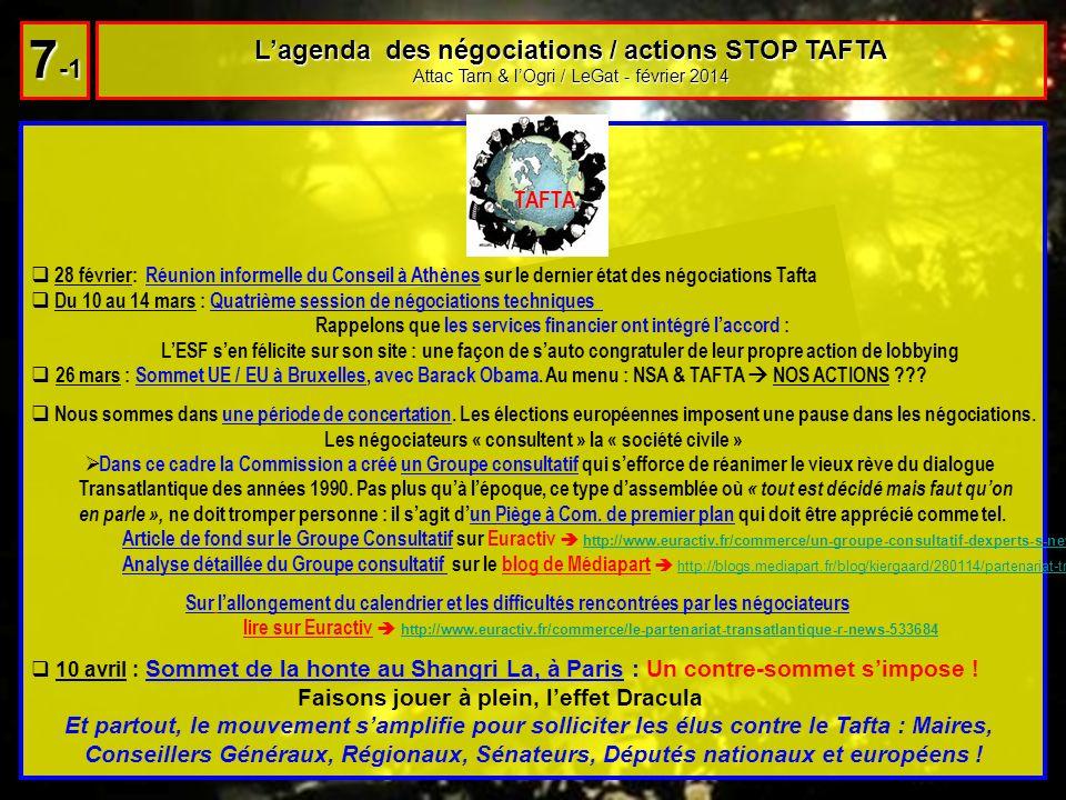 28 février: Réunion informelle du Conseil à Athènes sur le dernier état des négociations Tafta Du 10 au 14 mars : Quatrième session de négociations te