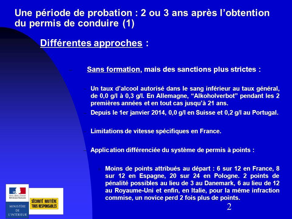 2 Une période de probation : 2 ou 3 ans après lobtention du permis de conduire (1) Différentes approches : – Sans formation, mais des sanctions plus s