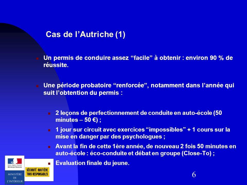 6 Cas de lAutriche (1) Un permis de conduire assez facile à obtenir : environ 90 % de réussite. Une période probatoire renforcée, notamment dans lanné