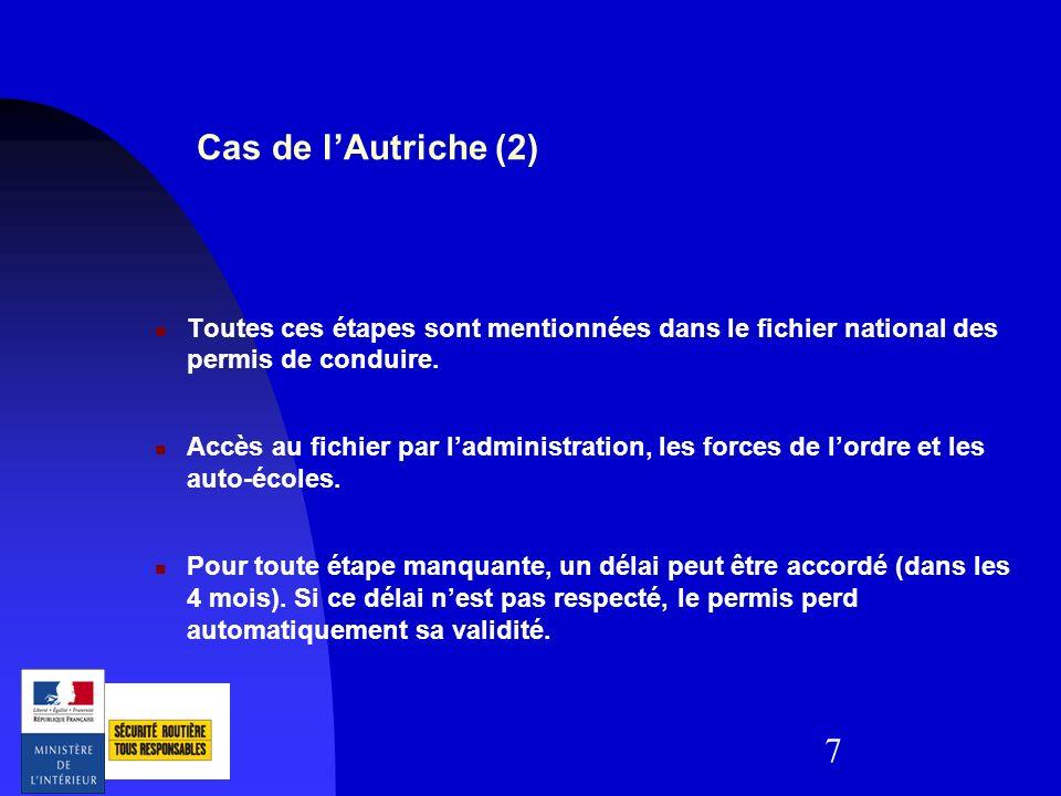7 Cas de lAutriche (2) Toutes ces étapes sont mentionnées dans le fichier national des permis de conduire. Accès au fichier par ladministration, les f