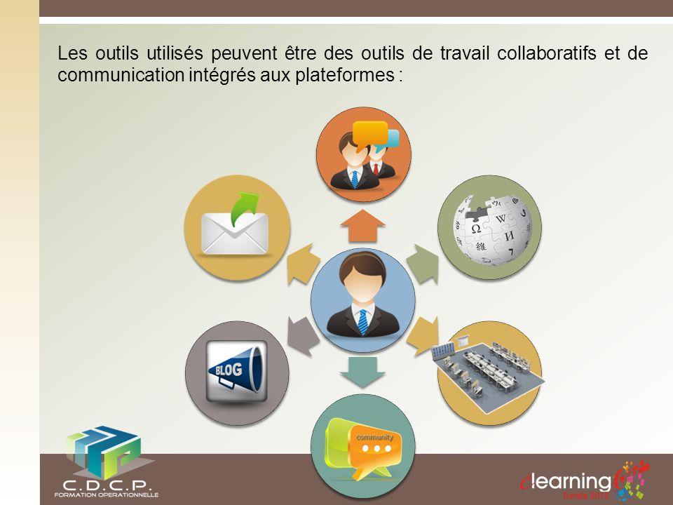 Les outils utilisés peuvent être des outils de travail collaboratifs et de communication intégrés aux plateformes :