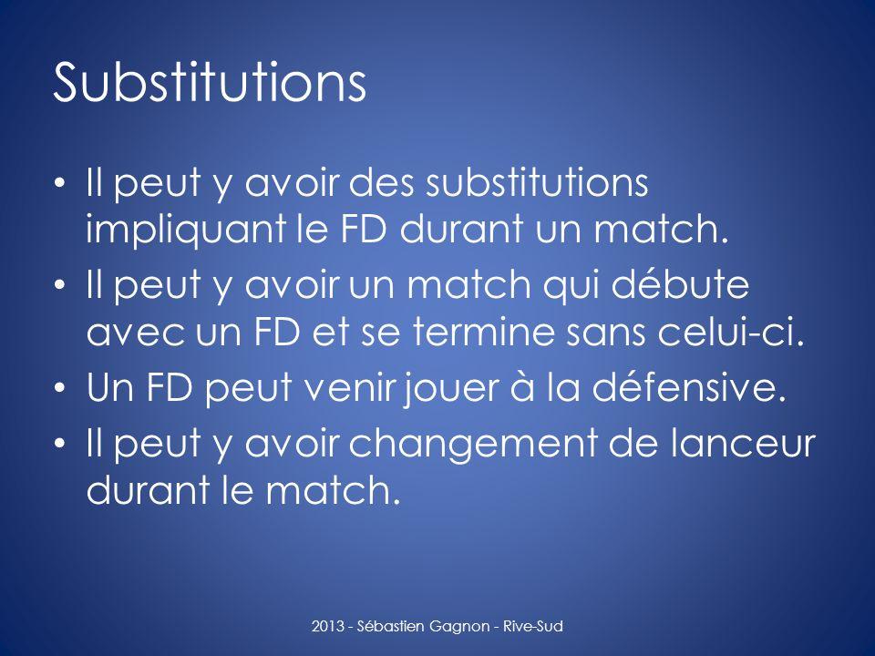 Substitutions Il peut y avoir des substitutions impliquant le FD durant un match. Il peut y avoir un match qui débute avec un FD et se termine sans ce
