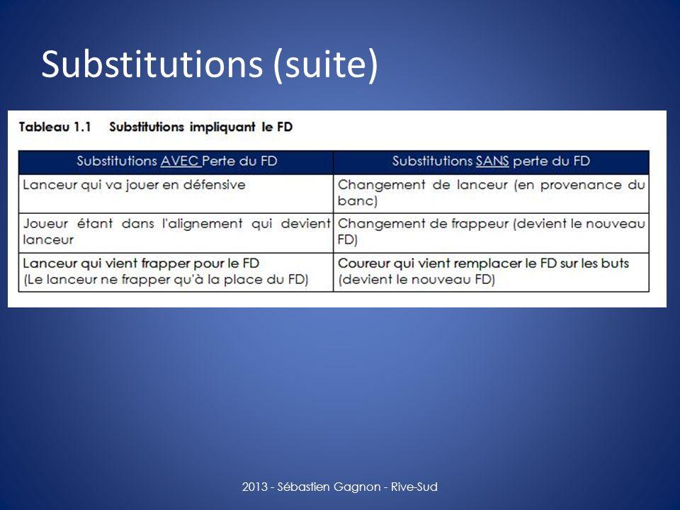 Substitutions (suite) 2013 - Sébastien Gagnon - Rive-Sud