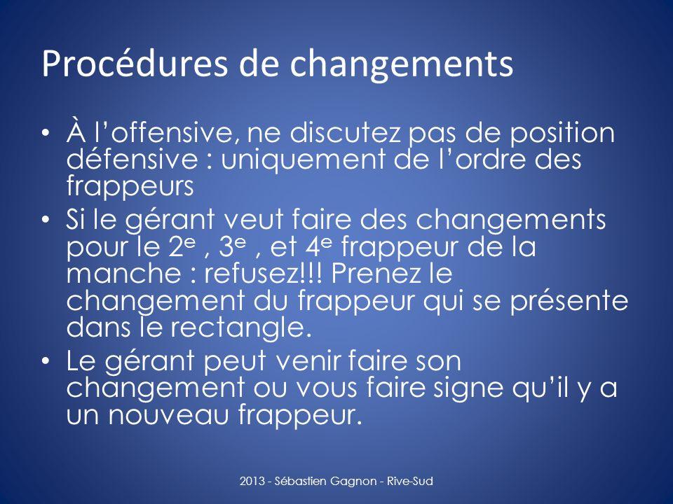 Procédures de changements À loffensive, ne discutez pas de position défensive : uniquement de lordre des frappeurs Si le gérant veut faire des changem
