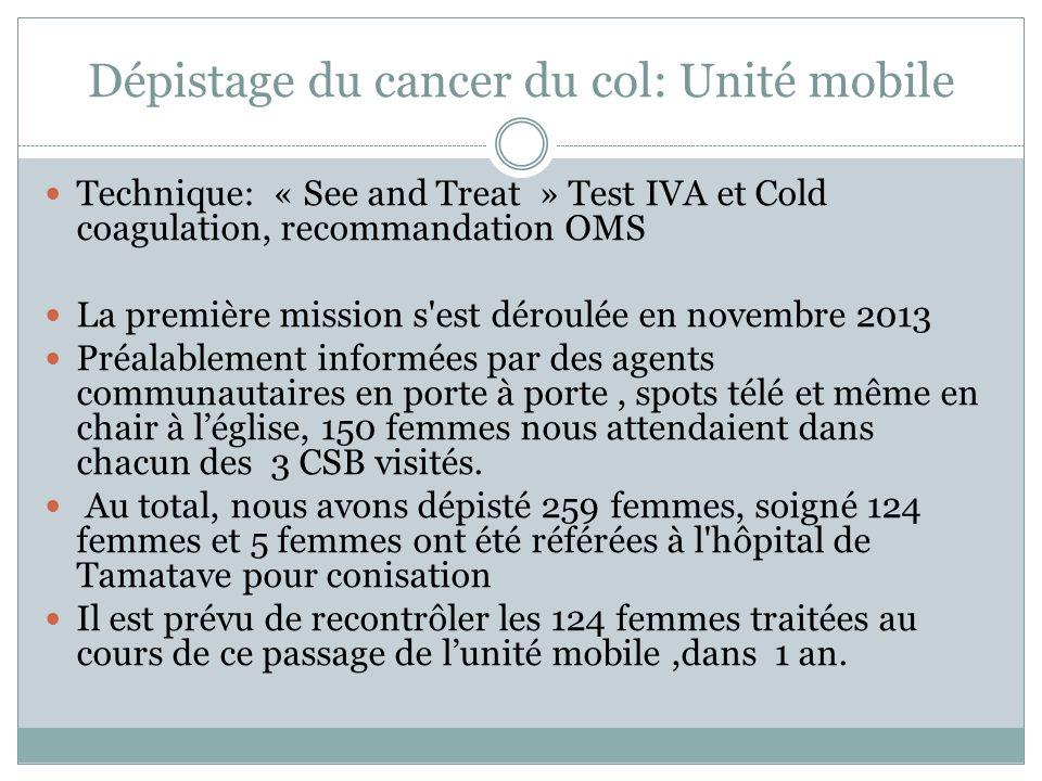 Dépistage du cancer du col: Unité mobile Technique: « See and Treat » Test IVA et Cold coagulation, recommandation OMS La première mission s'est dérou