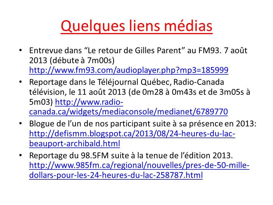 Quelques liens médias Entrevue dans Le retour de Gilles Parent au FM93.