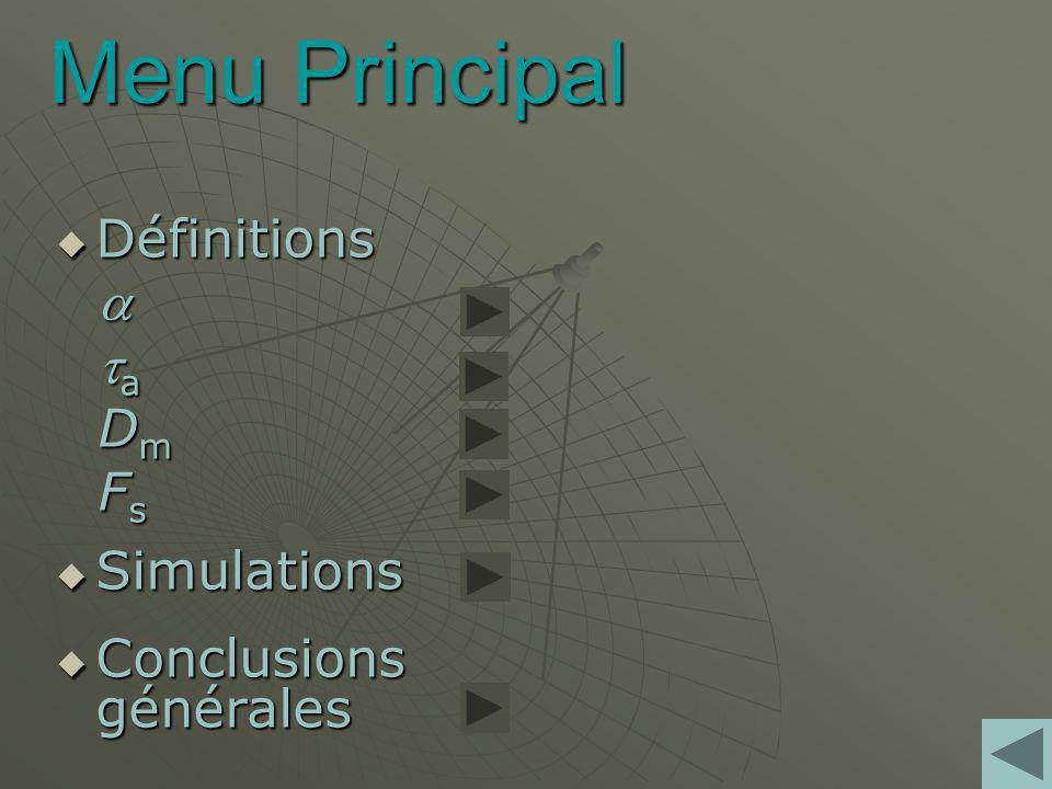 Menu Principal Définitions Définitions a D m F s Simulations Simulations Conclusions générales Conclusions générales