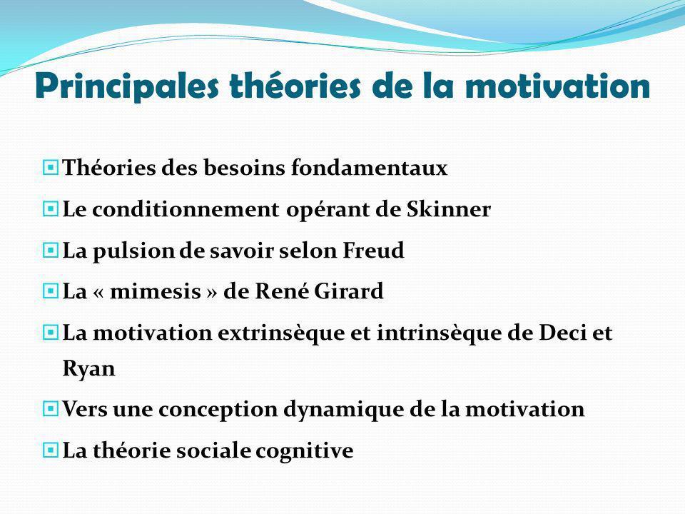 Principales théories de la motivation Théories des besoins fondamentaux Le conditionnement opérant de Skinner La pulsion de savoir selon Freud La « mi