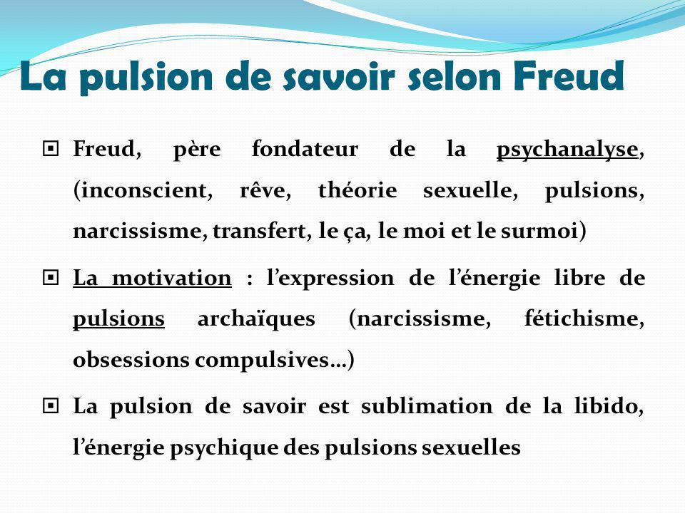 La pulsion de savoir selon Freud Freud, père fondateur de la psychanalyse, (inconscient, rêve, théorie sexuelle, pulsions, narcissisme, transfert, le