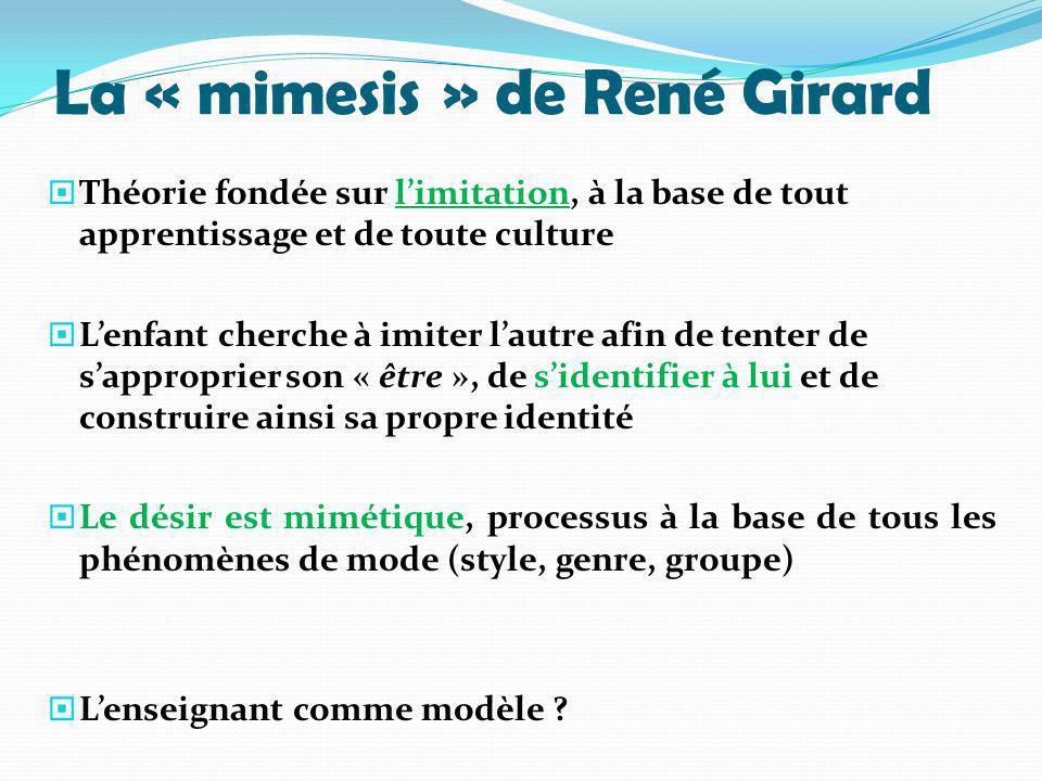 La « mimesis » de René Girard Théorie fondée sur limitation, à la base de tout apprentissage et de toute culture Lenfant cherche à imiter lautre afin