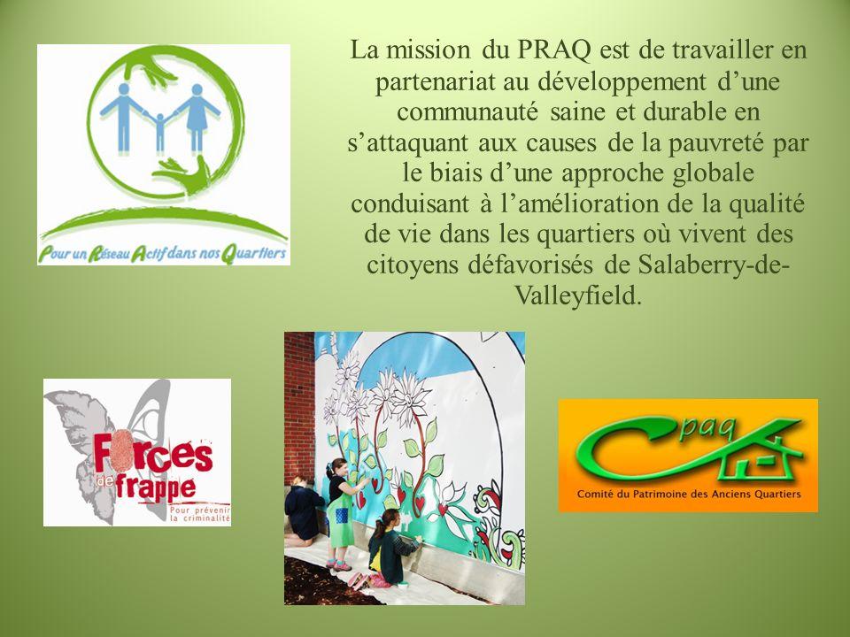 La mission du PRAQ est de travailler en partenariat au développement dune communauté saine et durable en sattaquant aux causes de la pauvreté par le b