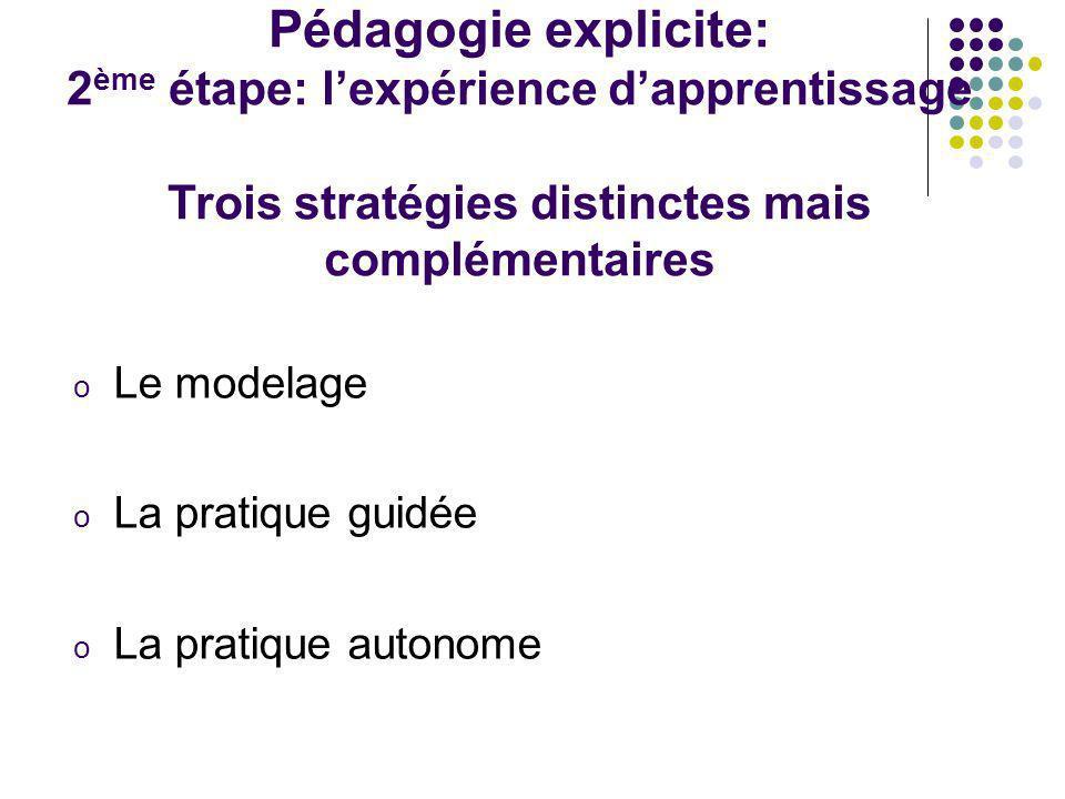 Pédagogie explicite: 2 ème étape: lexpérience dapprentissage Trois stratégies distinctes mais complémentaires o Le modelage o La pratique guidée o La
