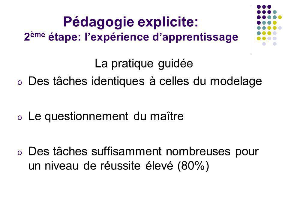 Pédagogie explicite: 2 ème étape: lexpérience dapprentissage La pratique guidée o Des tâches identiques à celles du modelage o Le questionnement du ma