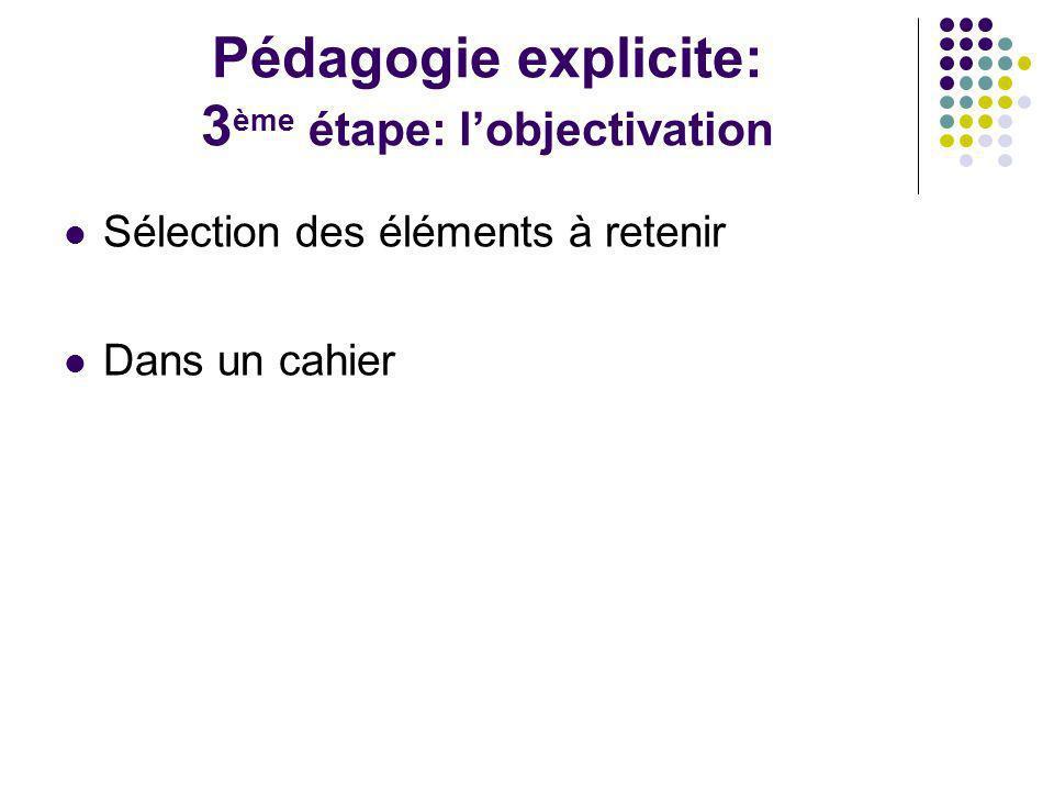 Pédagogie explicite: 3 ème étape: lobjectivation Sélection des éléments à retenir Dans un cahier