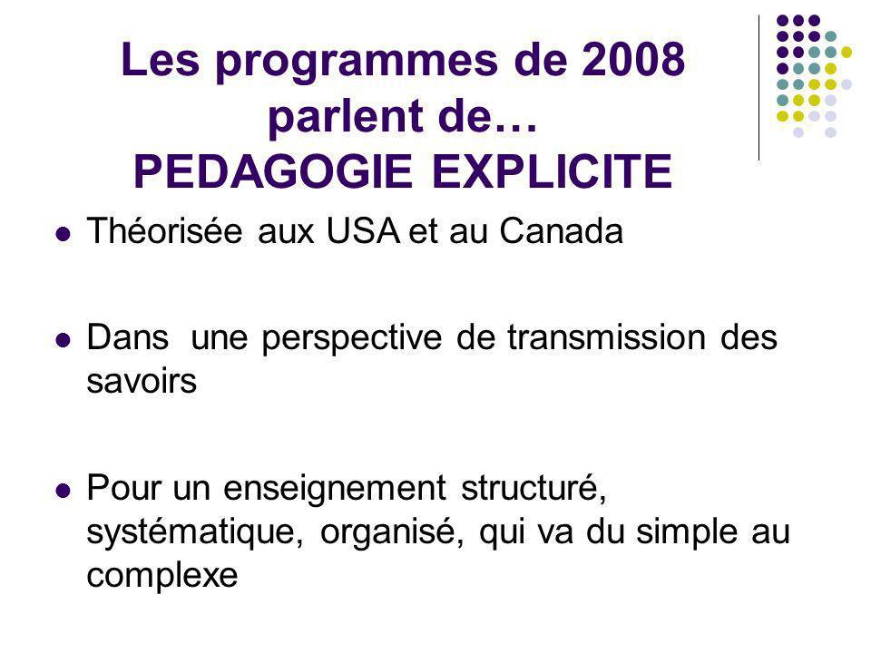 Les programmes de 2008 parlent de… PEDAGOGIE EXPLICITE Théorisée aux USA et au Canada Dans une perspective de transmission des savoirs Pour un enseign