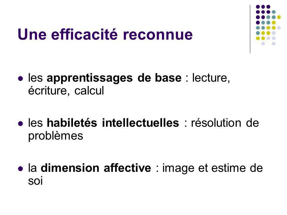 Une efficacité reconnue les apprentissages de base : lecture, écriture, calcul les habiletés intellectuelles : résolution de problèmes la dimension af