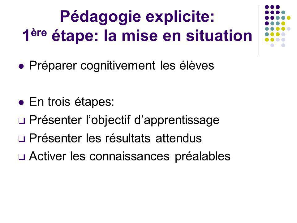 Pédagogie explicite: 1 ère étape: la mise en situation Préparer cognitivement les élèves En trois étapes: Présenter lobjectif dapprentissage Présenter