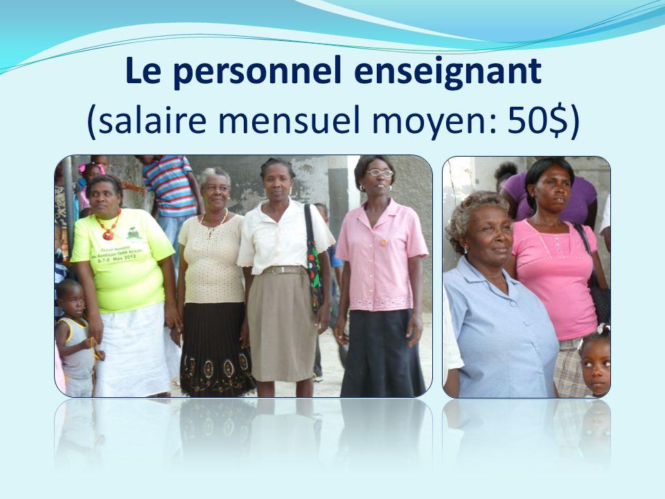 Le personnel enseignant (salaire mensuel moyen: 50$)