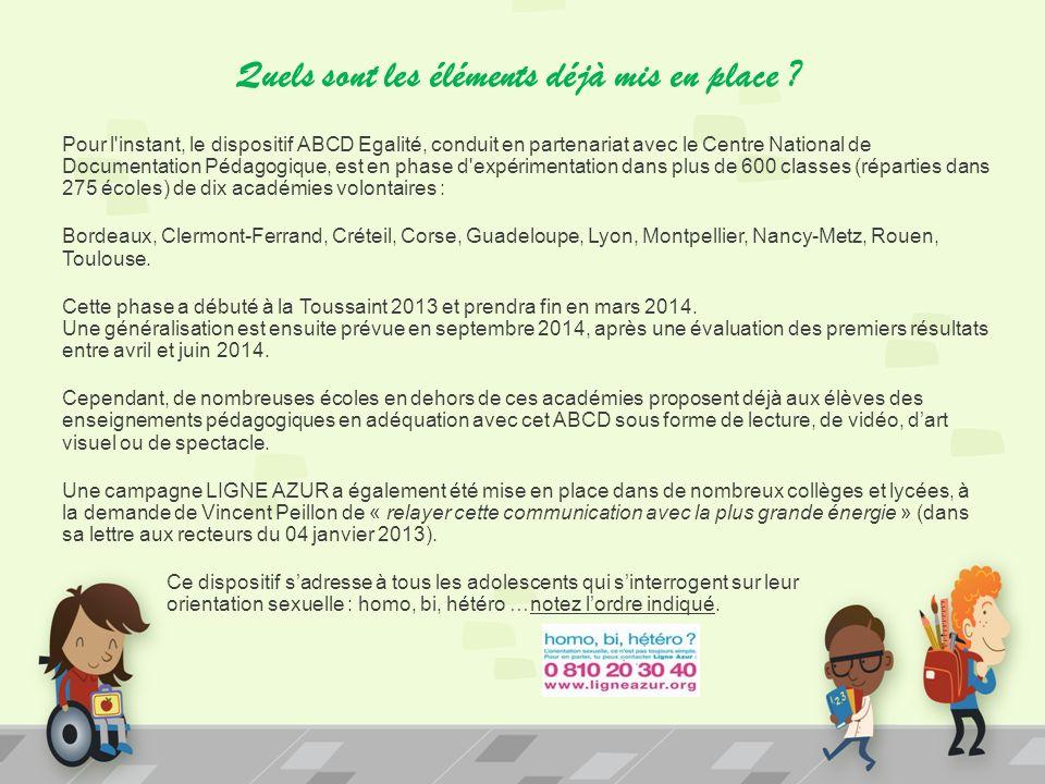 Quels sont les éléments déjà mis en place ? Pour l'instant, le dispositif ABCD Egalité, conduit en partenariat avec le Centre National de Documentatio