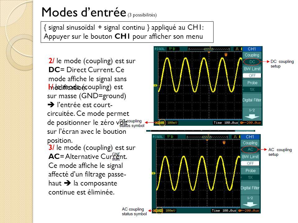 Modes dentrée (3 possibilités) { signal sinusoïdal + signal continu } appliqué au CH1: Appuyer sur le bouton CH1 pour afficher son menu 2/ le mode (coupling) est sur DC= Direct Current.