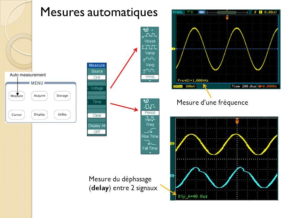 Mesures automatiques Mesure dune fréquence Mesure du déphasage (delay) entre 2 signaux