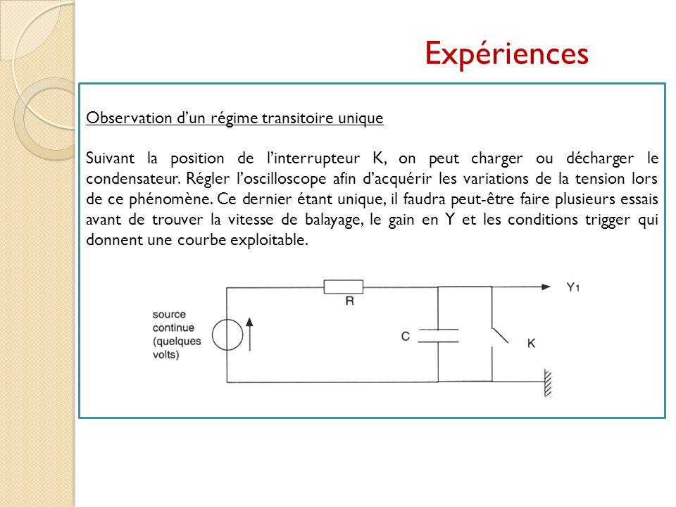Observation dun régime transitoire unique Suivant la position de linterrupteur K, on peut charger ou décharger le condensateur. Régler loscilloscope a