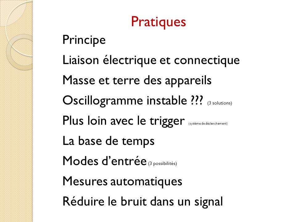 Pratiques Principe Liaison électrique et connectique Masse et terre des appareils Oscillogramme instable ??? (3 solutions) Plus loin avec le trigger (