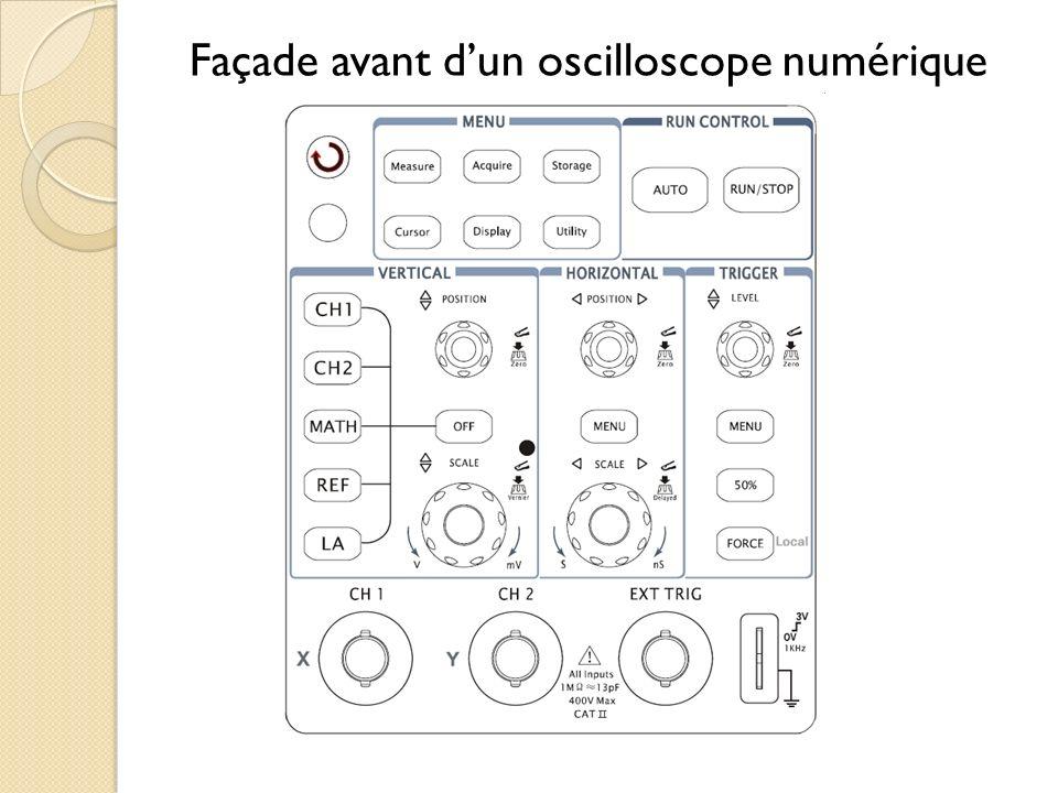 Façade avant dun oscilloscope numérique