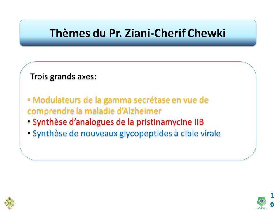 19 Thèmes du Pr. Ziani-Cherif Chewki Trois grands axes: Modulateurs de la gamma secrétase en vue de comprendre la maladie dAlzheimer Synthèse danalogu