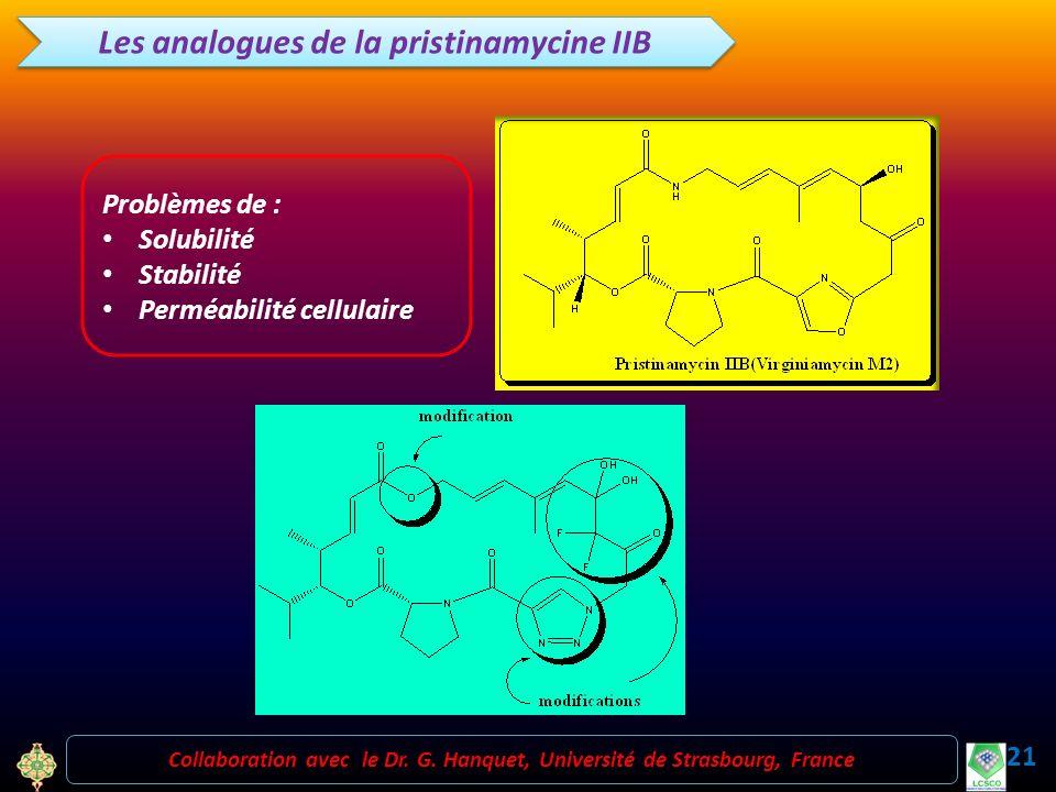21 Collaboration avec le Dr. G. Hanquet, Université de Strasbourg, France Les analogues de la pristinamycine IIB Problèmes de : Solubilité Stabilité P