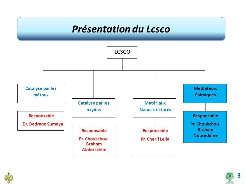 3 Présentation du Lcsco LCSCO Catalyse par les métaux Catalyse par les oxydes Matériaux Nanostructurés Médiateurs Chimiques Responsable Dr. Bedrane Su