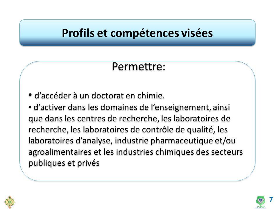 7 Profils et compétences visées Permettre: daccéder à un doctorat en chimie. dactiver dans les domaines de lenseignement, ainsi que dans les centres d
