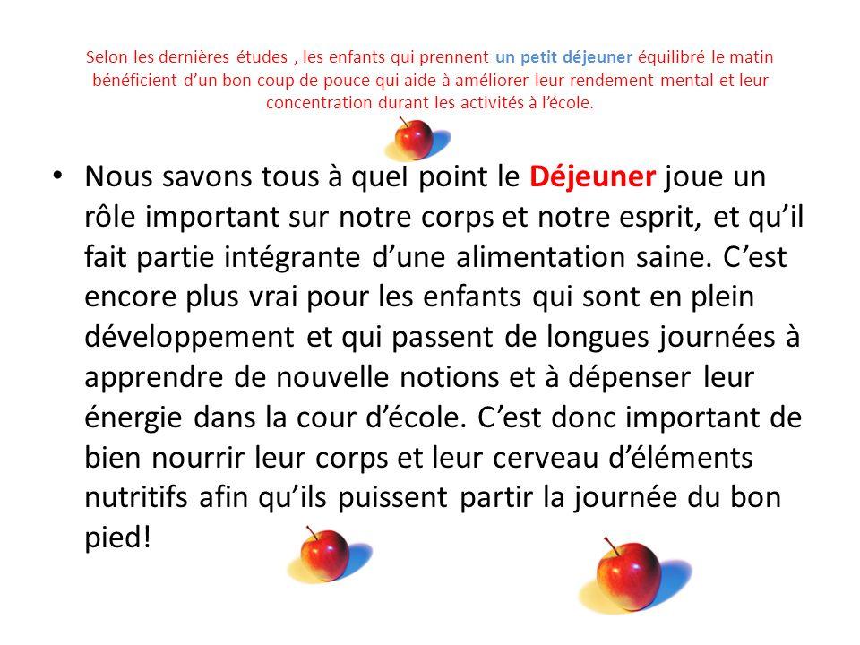 École Notre-Dame-de-Foy 2013-2014 Déjeuner Pour Apprendre